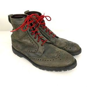 Allen Edmond Long Branch Wingtip Boots Red Laces